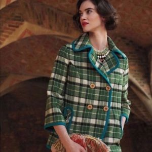 Anthropologie Piped Plaid Peacoat Jacket Tabitha